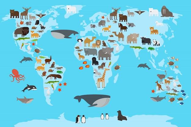 Animals world map Premium Vector