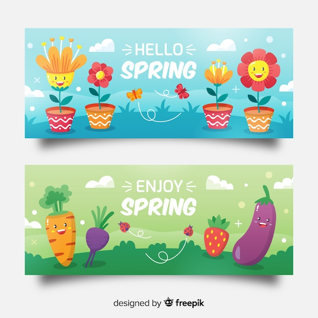 Animated elements spring sale banner Free Vector
