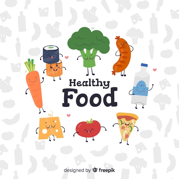 Animated food background Free Vector