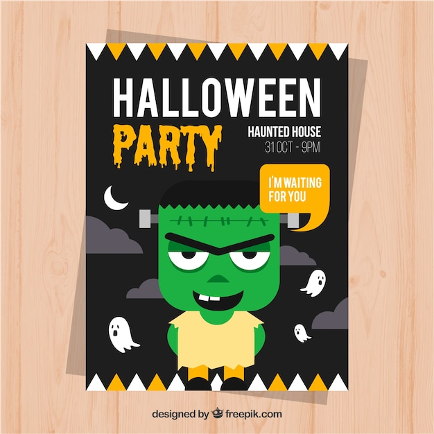 Animated green zombie inviting to a halloween party