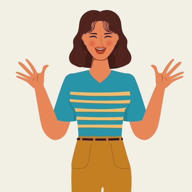 Анимация персонаж портрета женщина счастливая поза. плоский дизайн. Premium векторы