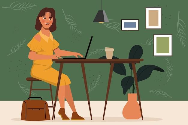 Женщина портрета персонажа анимации работая с компьтер-книжкой на столе. плоский дизайн. Premium векторы