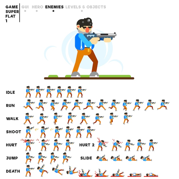 Animation of a man with a shotgun for creating a video game Premium Vector