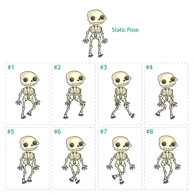 Animation of skeleton Free Vector