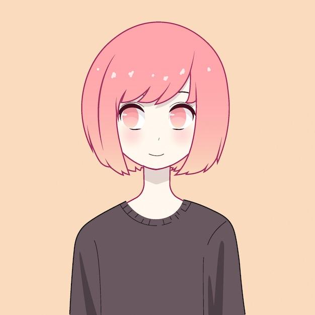 Anime girl character Premium Vector