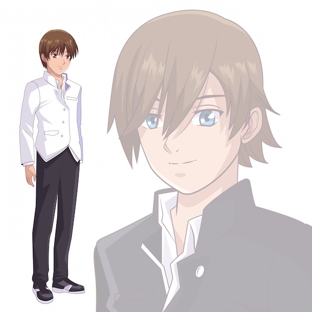 Anime manga men Premium Vector