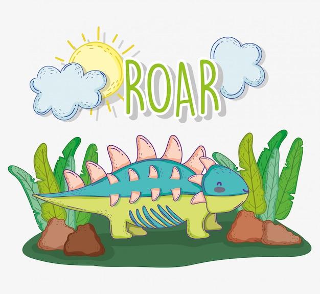 Ankylosaurus животное в растениях с солнцем и облаками Premium векторы