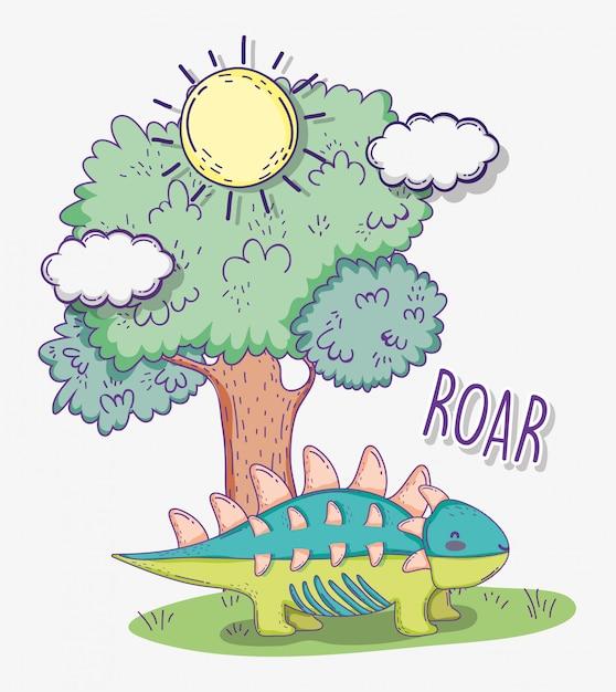 Ankylosaurus животное с деревом и солнце с облаками Premium векторы