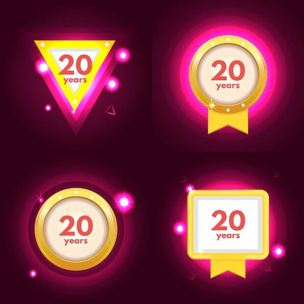 Юбилей 20 икон Premium векторы