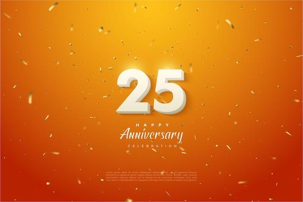 Юбилей 25-й фон с 3d числами на оранжевом и пятнистом фоне. Premium векторы