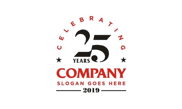 Юбилейный дизайн логотипа 25-й компании Premium векторы
