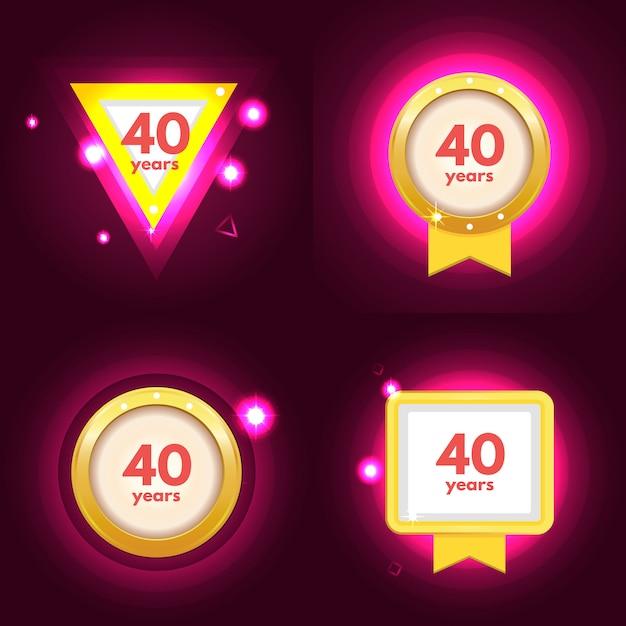 Anniversary 40 icons set Premium Vector