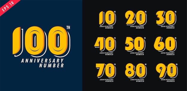 Юбилей и дата логотип набор современные цифры дизайн символа для плаката 10-100 векторные иллюстрации Premium векторы
