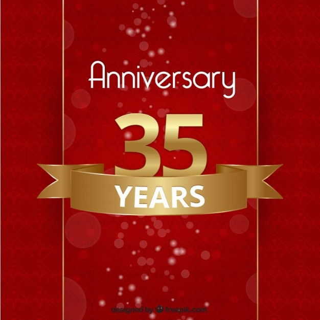 Anniversary Background In Red And Golden Color Vector