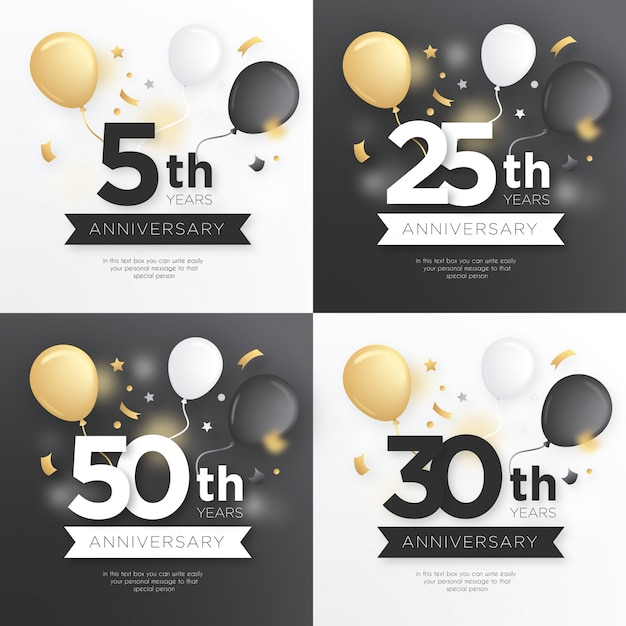 Anniversary badge collection with golden balloons Free Vector