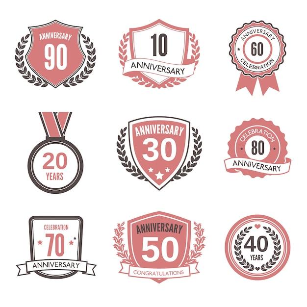 Anniversary badge or label set Premium Vector