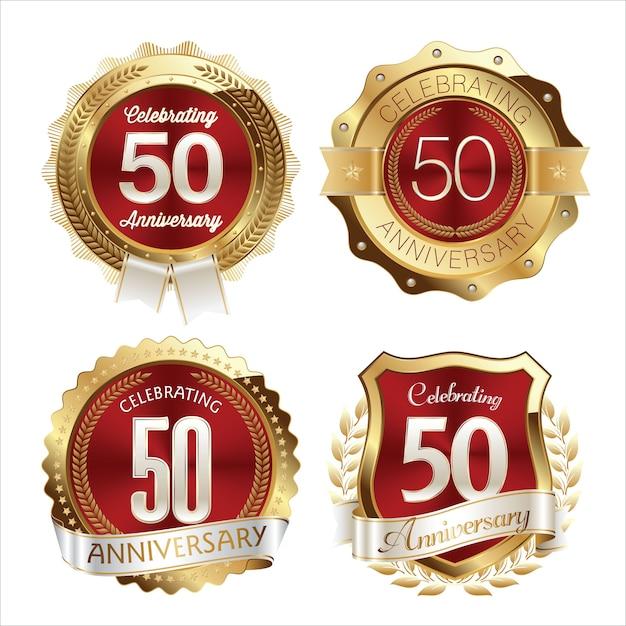 . юбилейные значки. набор из четырех роскошных юбилейных значков. Premium векторы