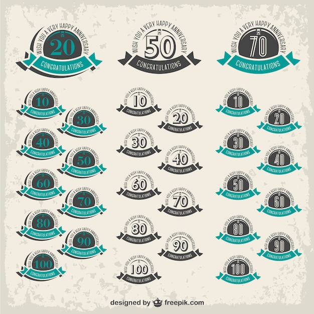 Anniversary badges set Free Vector