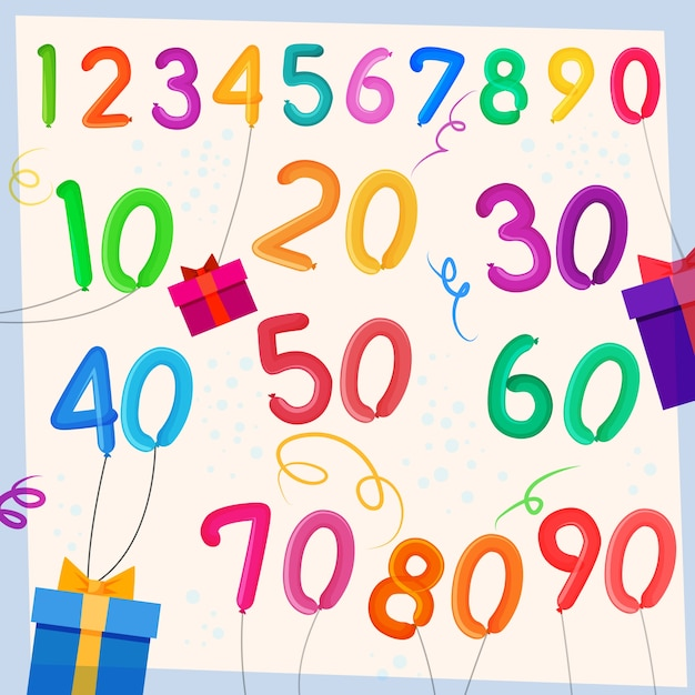 Anniversary balloons background Free Vector