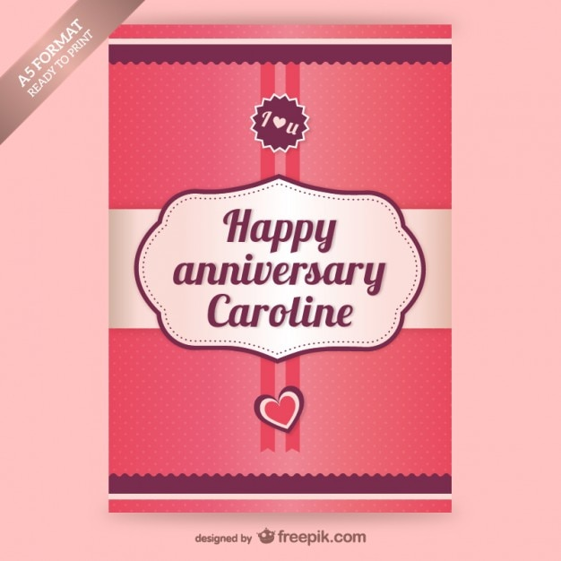 Custom Card Template  Anniversary Card Template  Free Card