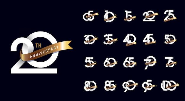 Дизайн логотипа празднования годовщины Premium векторы