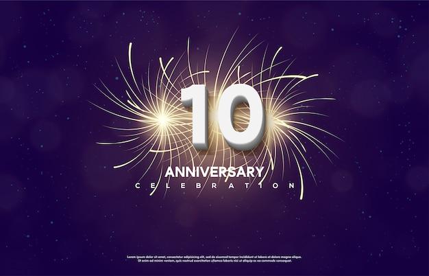 Номер празднования годовщины с номером 10 белый с фейерверком за ним. Premium векторы