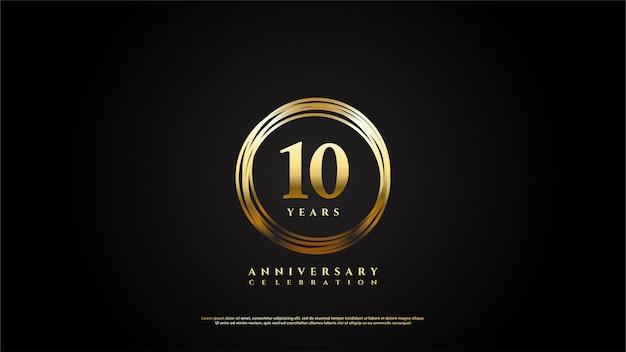Празднование годовщины с золотыми цифрами в линиях золотой круг. Premium векторы