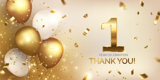 Anniversary celebration with golden balloons Free Vector