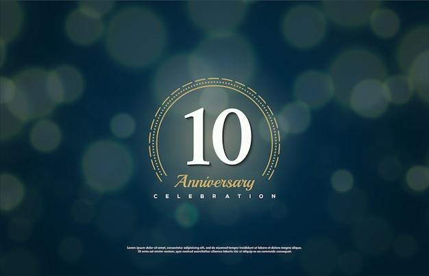 Празднование годовщины с белым номером сделать в пунктирном круге. Premium векторы