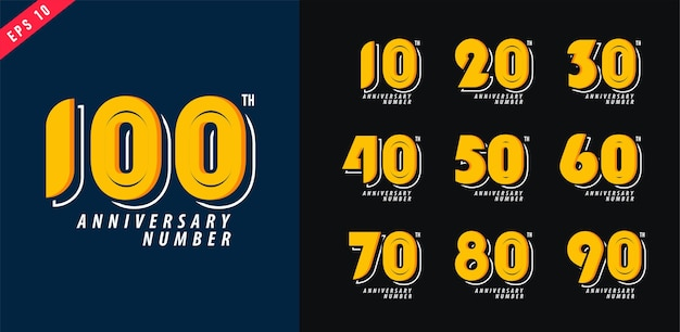 Anniversary and date logo set modern numeral symbol design for poster 10-100 vector illustration Premium Vector