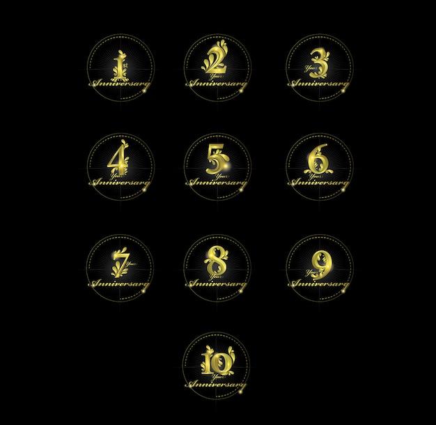 Anniversary  gold numbers Premium Vector