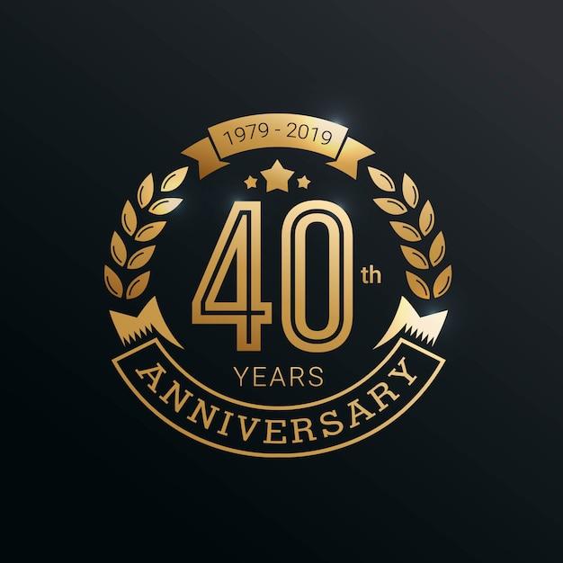 Юбилейный золотой значок 40 лет с золотым стилем Premium векторы