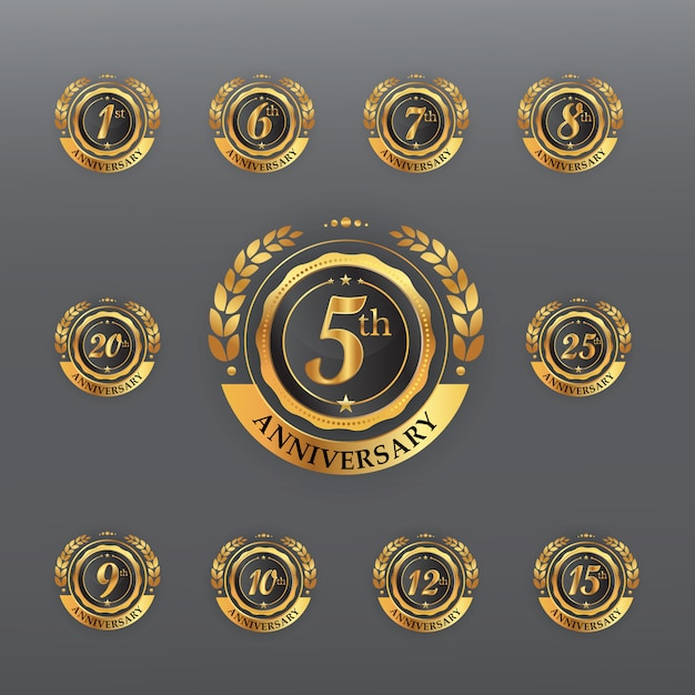 Anniversary golden badge Premium Vector