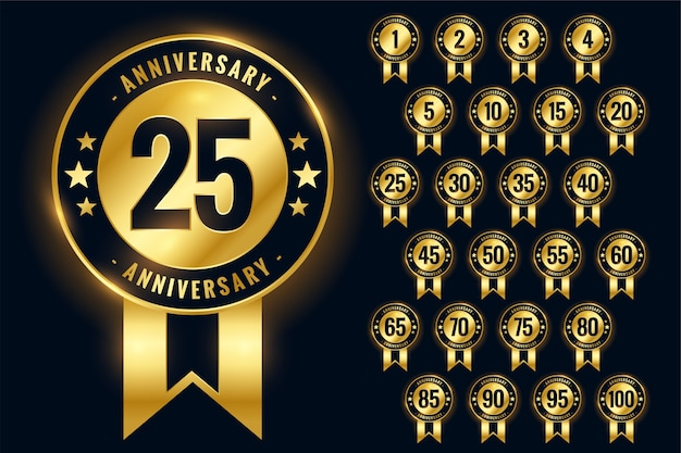 Anniversary golden badges labels or emblem logotype set Free Vector