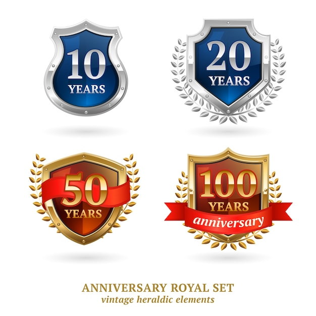 Anniversary golden heraldic labels set Free Vector