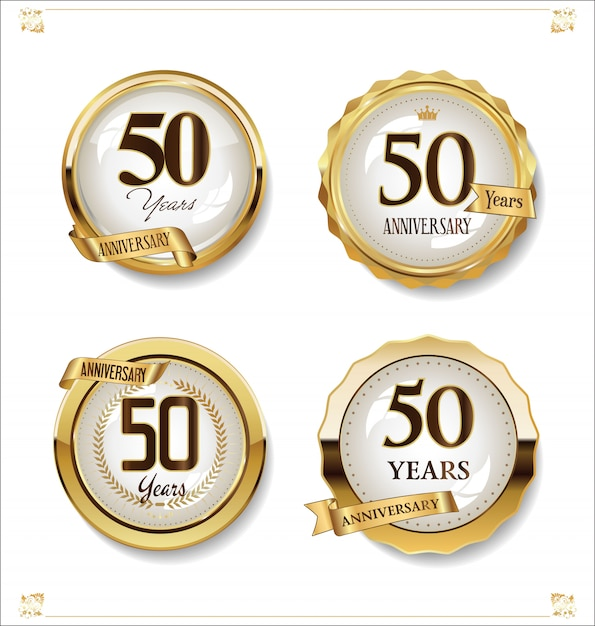 Anniversary golden labels retro vintage design collection Premium Vector