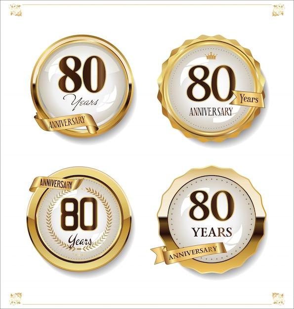 Anniversary golden labels retro vintage design collection Premium Vector