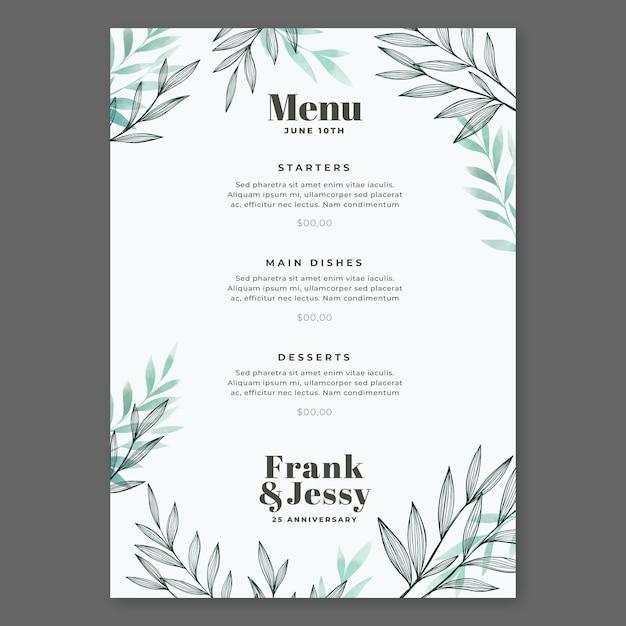 結婚記念日ハッピーウェディングレストランメニュー 無料ベクター