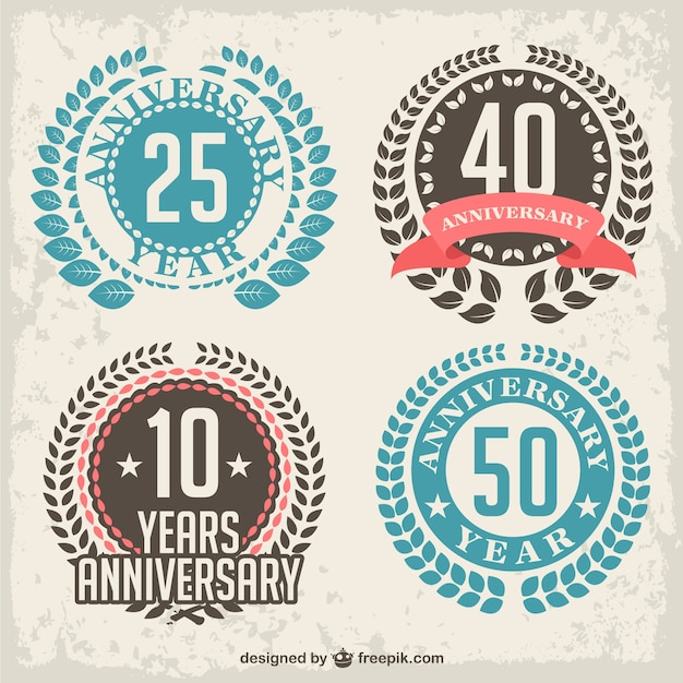 Anniversary laurel badges Free Vector