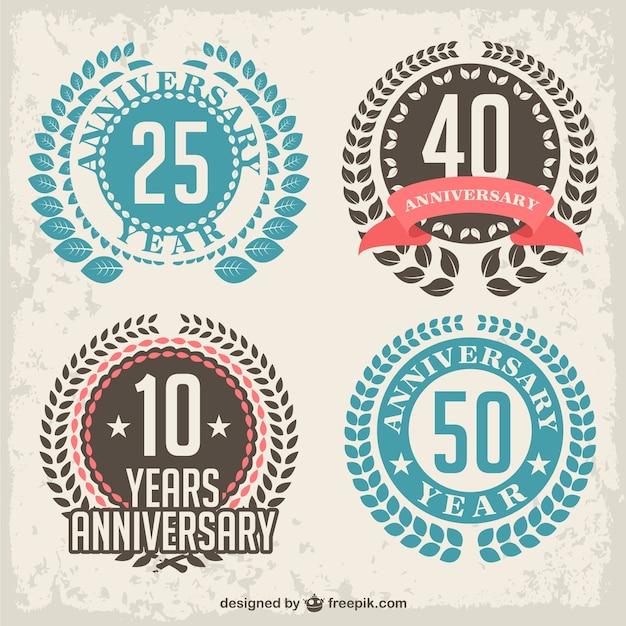 Anniversary laurel badges Free Vector