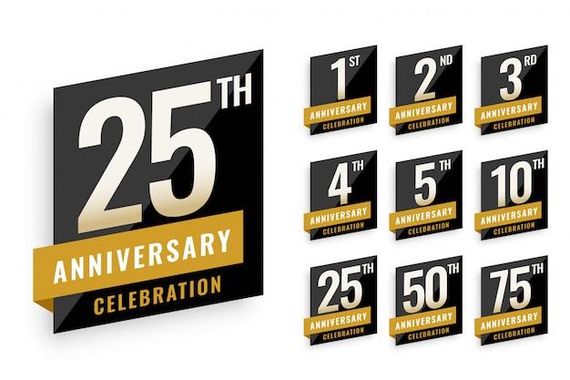 Anniversary logotype labels set design Free Vector