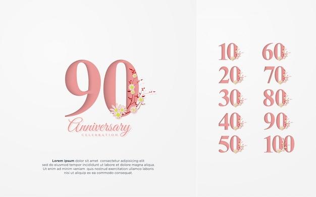 Юбилейный номер 10 100 с иллюстрацией розового номера Premium векторы