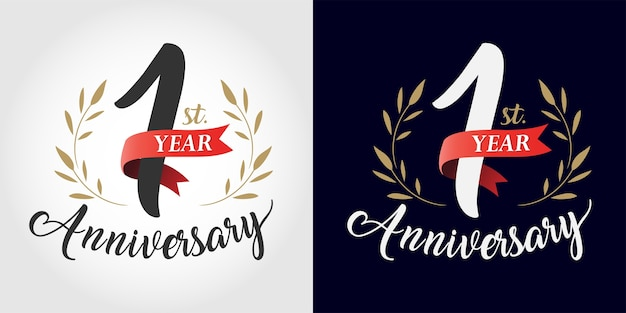 Anniversary number hand lettering. vintage style Premium Vector