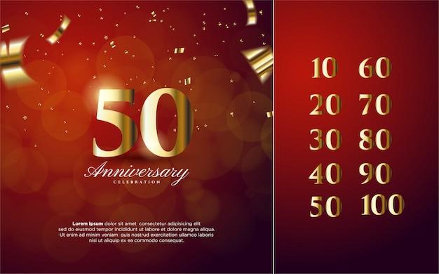 Юбилейные номера 10-100 с золотыми номерами Premium векторы