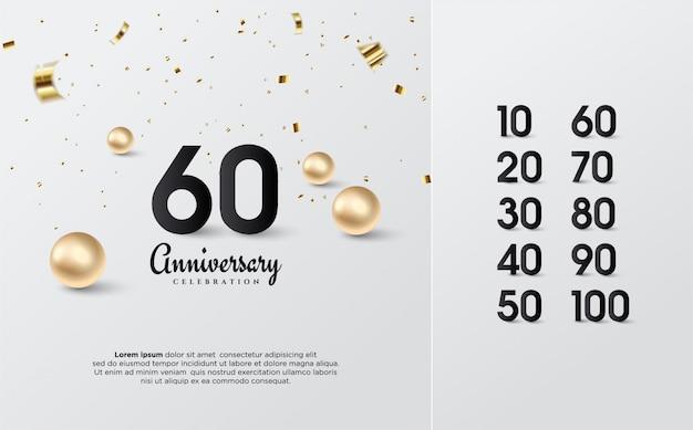 Юбилейные номера чёрные с золотыми гранулами. Premium векторы