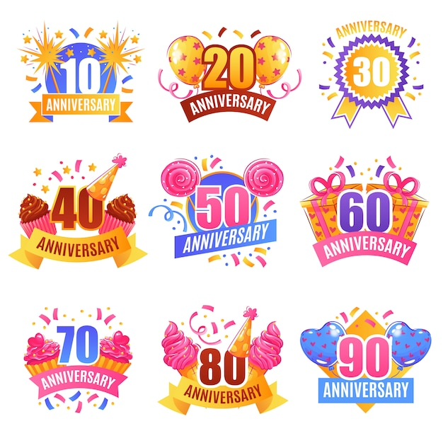 Anniversary numbers festive set Free Vector