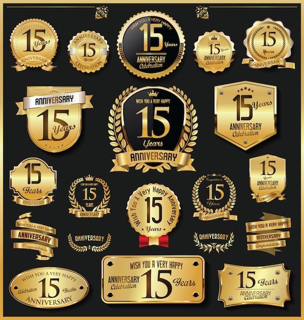 Юбилейные ретро старинные золотые значки и этикетки вектора Premium векторы
