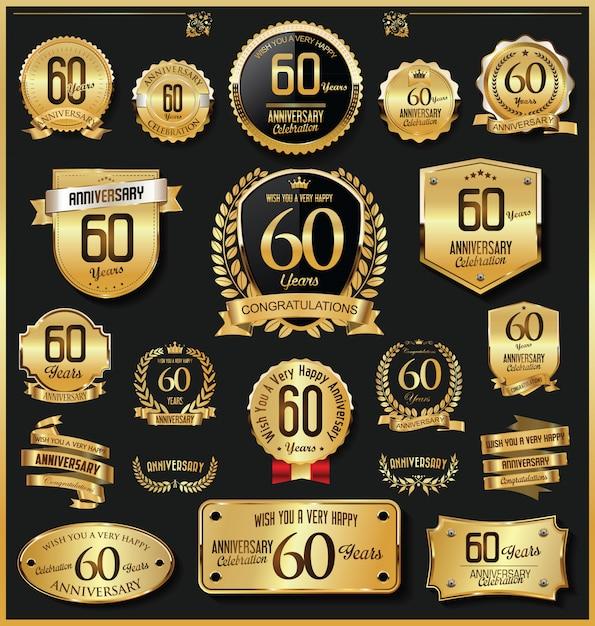 Anniversary retro vintage golden badges and labels vector Premium Vector