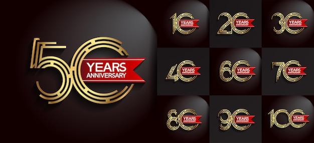Юбилейный набор в стиле логотипа с золотым цветом и красной лентой Premium векторы