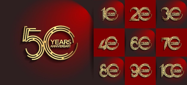 Юбилейный набор в стиле логотипа с золотым цветом Premium векторы
